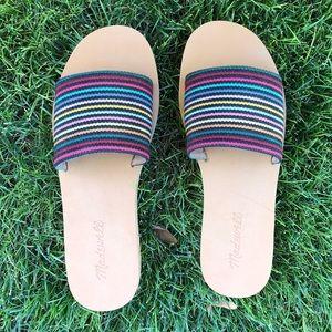 Madewell Maddie Slide Sandals in Rainbow Stripe